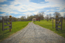 gravel road and gate