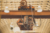 pulley system in the rafters