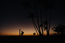 silhouettes of people and palm trees