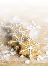 star Christmas cookies and flour
