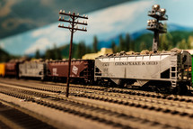 model train on tracks