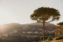 sunlight over a hillside village in Italy