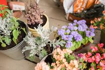 flower pots on a porch
