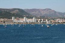 sailboats in a bay