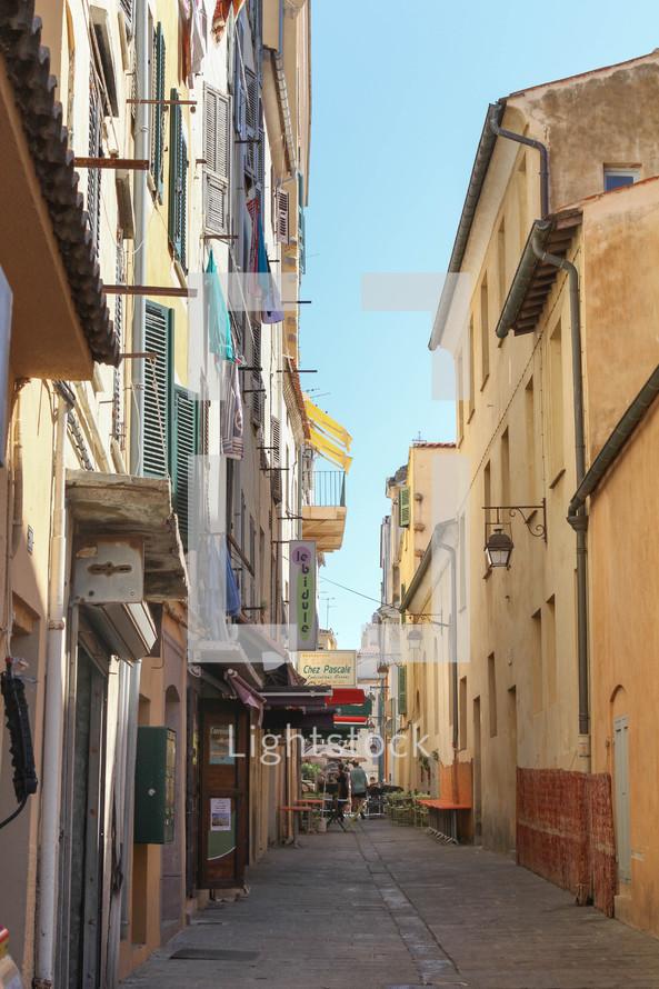 narrow alley between buildings in Europe