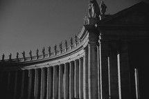 statues lining the colonnade at the Vatican