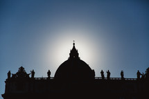 silhouette of st peter's basilica