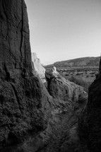 canyons in black and white