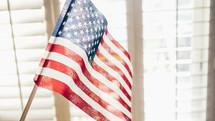 American flag in a window