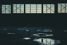 Warehouse with big windows | Empty Room | Dark | Abandoned | Horizontal | Backlit | Loneliness |