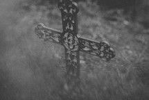 cross in grass