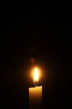 flame on a candle in the darkness