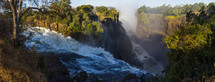 water flowing over Victoria falls