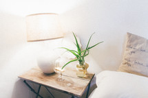 a lamp on a nightstand