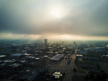 foggy morning in a city