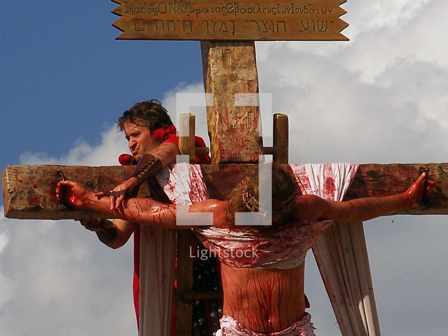 Roman soldiers crucify Jesus on the bloody cross of Golgotha, the place of the skull. While this image is bloody and graphic, it is nothing more than just a mild representation of the suffering that Jesus went through as He took the place of all sinners and all of mankind on the cross. The beauty of this story is not that Jesus died but that He arose from the dead, just as He said He would. He did not have to die but did so on His own free will taking the place of our sins so that we might have a restored fellowship with God and be able to be with Him in glory for all eternity.