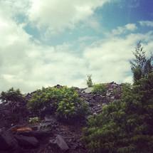rocky soil on a mountain side