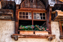 flower boxes in a window