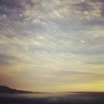 Mist over ocean water