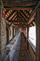 covered walkway on a castle in Switzerland