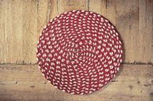 red and white circular rug