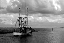 shrimp boat at sea