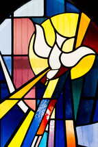 stained glass window of a dove