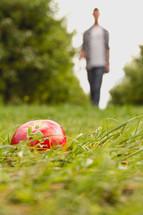 A man walking toward an apple lying in the grass