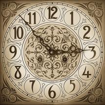 An ornate clock face.