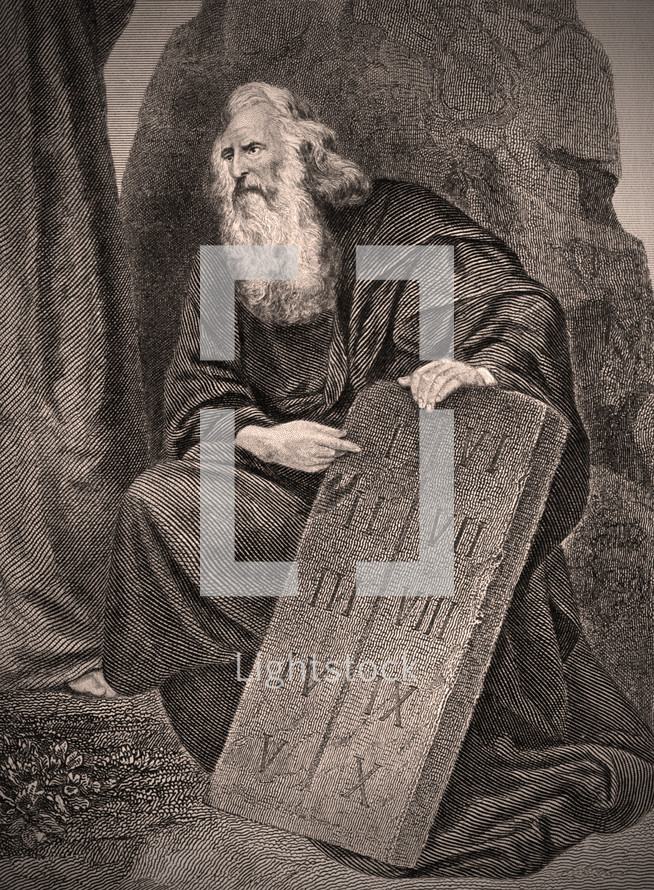 Moses with the 10 commandment tablets