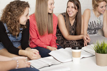 young women gathered at a Bible study