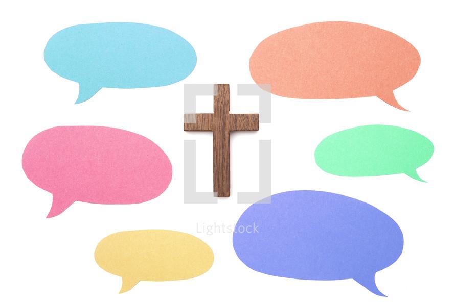 empty speech bubbles and cross