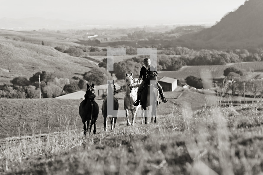 woman riding a horse and leading other horses up hillside ranch, farm country