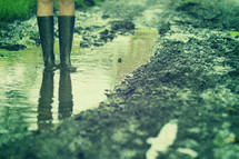 woman standing in a puddle with galoshes