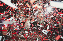 Red and white confetti
