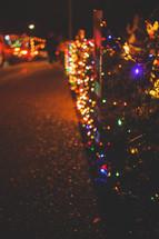 neighborhood Christmas light display outdoors