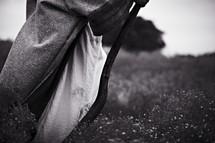 Biblical man walking with cane