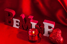 Be mine sign  and votive candle