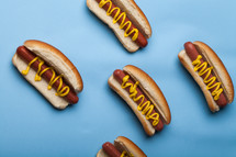 Hot dogs on buns and drizzled with mustard on a blue background.