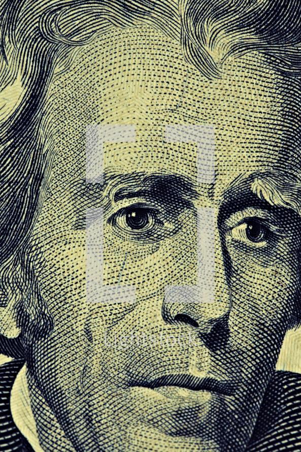 An extreme closeup of Andrew Jackson on the twenty dollar bill
