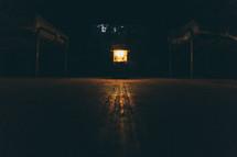 lantern on a cabin floor