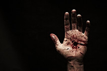 The bloody and nail-scarred hand of Jesus.