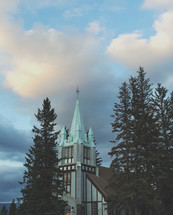 an iPhone capture of this beautiful  church steeple in the evening sunset