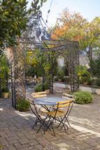 iron pergola on a patio