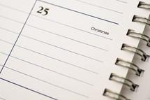 December 25th on a Calendar - Christmas