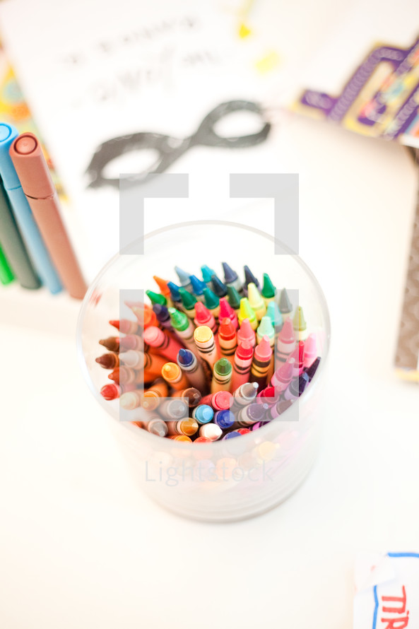 crayons in a cup