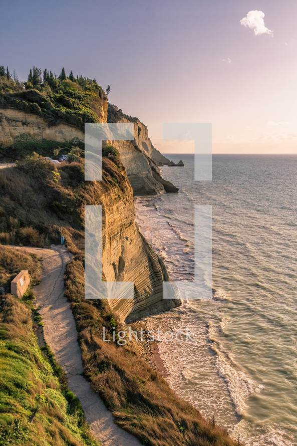cliffs along a shoreline