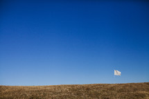 White flag flying on grassy hilltop.