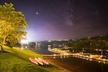 docked boats at night