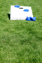corn hole and bean bags in grass